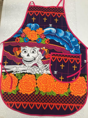 APRON DAY OF THE DEAD PINK