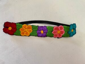 head band with embroidered flowers